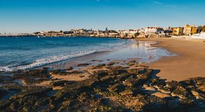 Cascais Portugal city panorama with it`s famous Praia da Duquesa. Beach in the morning stock photography