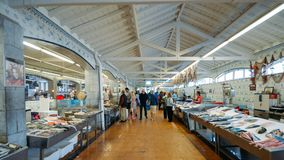 Wide angle view of fresh local fish in the village market in Cascais, Portugal. Cascais, Portugal - June 9th, 2018: Wide angle view of fresh local fish in the Royalty Free Stock Photography