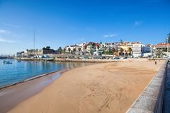 View of a beach in the touristic village Royalty Free Stock Photo