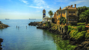 Santa  Maria lighthouse, Cascais, Portugal Royalty Free Stock Photos