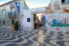 Cascais street scene. Cascais is famous and popular summer vacation spot for Portuguese and foreign tourists Royalty Free Stock Image