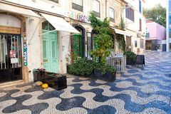 Cascais street scene. Cascais is famous and popular summer vacation spot for Portuguese and foreign tourists Stock Image