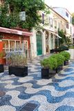 Cascais street scene. Cascais is famous and popular summer vacation spot for Portuguese and foreign tourists Stock Photo
