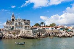Cascais waterftont nära Lissabon, Portugal Arkivfoto