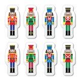 Cascanueces de la Navidad - iconos de la estatuilla del soldado fijados Fotografía de archivo