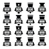 Cascanueces de la Navidad - iconos del negro de la cabeza de la estatuilla del soldado fijados Fotografía de archivo libre de regalías