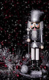 Cascanueces de plata y negro de la Navidad Imágenes de archivo libres de regalías