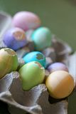 Cascarones Eggs. Egg carton filled with Mexican decorated Easter eggs Stock Photo