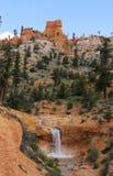 Cascata alla traccia muscosa della caverna Fotografie Stock