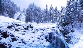 Cascata Austria di Krimml nell'inverno Fotografie Stock Libere da Diritti
