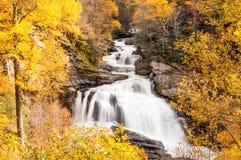 Cascata in autunno, in foresta della Nord Carolina, altopiani vicini Immagine Stock Libera da Diritti
