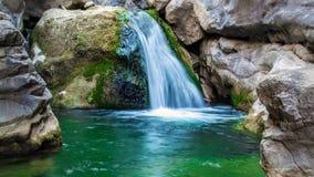 Cascata che entra giù una pietra in un fiume della montagna video d archivio