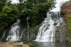 Cascata Chervonograd nella regione di Ternopil, Ucraina Immagine Stock Libera da Diritti