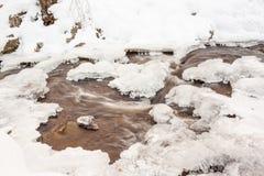 Cascata con neve Fotografia Stock