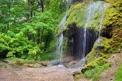 Cascata con una caverna in un giardino verde Immagine Stock