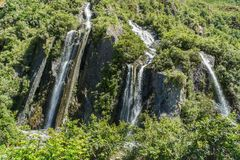 Cascata dalla montagna verde in ghiacciaio Nuova Zelanda di Fox Fotografia Stock Libera da Diritti