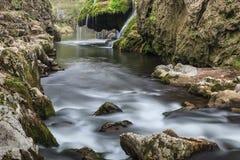 A cascata de Bigar cai em desfiladeiros parque nacional de Nera Beusnita, Roménia Imagens de Stock Royalty Free
