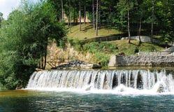 Cascata del fiume vicino alla cascata 1 di Jajce Fotografia Stock Libera da Diritti