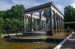 Cascata del leone nel parco di Petrodvorets Fotografia Stock Libera da Diritti