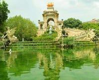 Cascata del parco di Barcellona Ciutadella Fotografia Stock