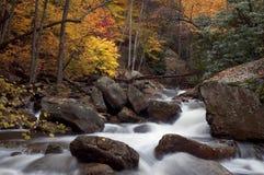 Cascata della foresta di autunno Fotografie Stock Libere da Diritti