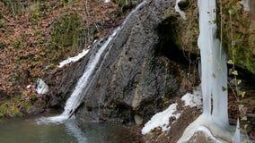 Cascata della foresta nell'inverno archivi video