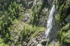 Cascata della montagna sopra la foresta Fotografia Stock Libera da Diritti