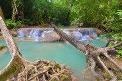 Cascata di Erawan, Kanchanaburi, Tailandia Immagini Stock Libere da Diritti