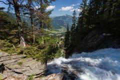 Cascata di estate, Austria di Krimml Fotografia Stock