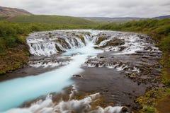 Cascata di estate, Islanda di Bruarfoss Fotografia Stock