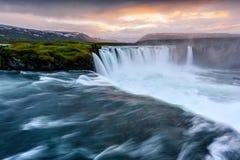 Cascata di Godafoss sul fiume di Skjalfandafljot Fotografia Stock Libera da Diritti