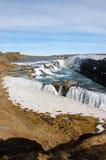 Cascata di Gullfoss, arcobaleno, cielo blu, Islanda Fotografia Stock