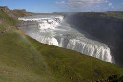 Cascata di Gullfoss e un arcobaleno Fotografia Stock Libera da Diritti