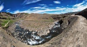 Cascata di Hengifoss in Islanda Fotografia Stock