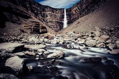Cascata di Hengifoss in Islanda Immagine Stock Libera da Diritti
