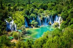 Cascata di Kravice sul fiume di Trebizat in Bosnia-Erzegovina Immagine Stock Libera da Diritti