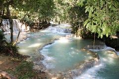 Cascata di Kuang Si, prabang di Luang, Laos immagine stock