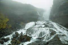 Cascata di Ofaerufoss in canyon di Eldgja Fotografie Stock Libere da Diritti