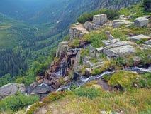 Cascata di Pancava sulle montagne del krkonose immagini stock