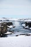 Cascata di Selfoss, Cisgiordania, neve, nuvolosa, Islanda Fotografie Stock Libere da Diritti