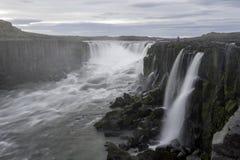 Cascata di Selfoss nel parco nazionale di Jokulsargljufur, Islanda fotografia stock libera da diritti