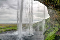 Cascata di Seljalandsfoss in Islanda Fotografie Stock Libere da Diritti