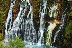 Cascata di Shirahige e fiume blu fotografia stock