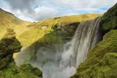 Cascata di Skogarfoss, Islanda Fotografie Stock