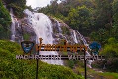 Cascata di Wachirathan, Tailandia fotografia stock