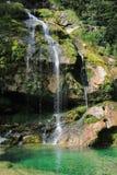 Cascata di Wirje, montagne di Kanin, Slovenia Immagine Stock
