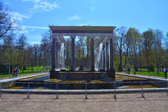 A cascata do leão em Peterhof, St Petersburg, Rússia Fotografia de Stock