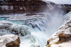 Cascata ghiacciata di Gullfoss nell'inverno Fotografia Stock Libera da Diritti