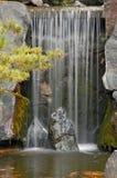 Cascata giapponese del giardino con i colori di autunno Fotografia Stock Libera da Diritti