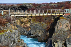 Cascata Hraunfossar di bellezza sull'Islanda Fotografie Stock Libere da Diritti